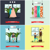Vector set of fashion atelier square flat posters Stock Photography