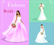 Vector set of a fashion beautiful brides in white wedding dresses with a bouquets. EPS 10 Stock Images