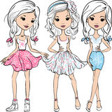 Vector set fashion cute happy girls Stock Images