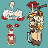 Vector set of fashion food badge in surrealism hand drawn style. Trendy artwork with sweet drinks collection. Template for card poster banner label print for t Royalty Free Stock Image