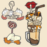 Vector set of fashion food badge in surrealism hand drawn style. Trendy artwork with sweet drinks collection. Template for card poster banner label print for t Stock Images