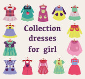 Vector Set of Fashion girl dresses Stock Photography