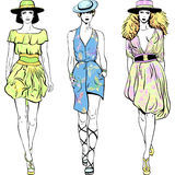 Vector set fashion top models in summer dresses an Royalty Free Stock Photo