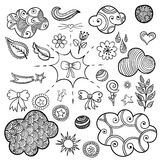 Vector set of fashionable patches elements like heart, flower, mail, cloud, leaf, sun. Vector hand drawn cute and funny stikers kit. Modern doodle pop art Stock Image