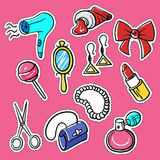 Vector set of fashionable patches: hairdryer, pomade, perfume Royalty Free Stock Photos