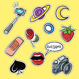 Vector set of fashionable patches: selfie stick, lips, strawberry Stock Photos