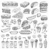 Vector set fast food royalty free illustration