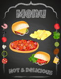 Vector set of Fast Food on the chalkboard. Royalty Free Stock Photos