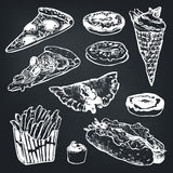 Vector Set of fast food. Hamburger, donut, ice cream, hot dog, french fries, pizza. Stock Photos