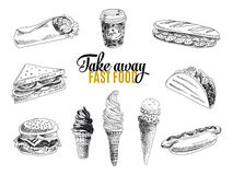 Vector set of fast food. Illustration in sketch Royalty Free Stock Images