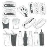 Vector set of fast food products isolated on white background in monochrome style. Design elements and icons. Royalty Free Stock Image