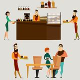 Vector burger bar or fast food restaurant icon set. Vector set of fast food restaurant elements. Burger bar counter with barista, food and drink, waiter vector illustration