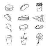 Vector set of fastfood doodle Royalty Free Stock Images