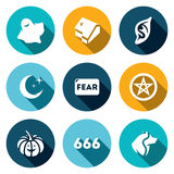 Vector Set of Fear Icons. Ghost, House, Vampire, Night, Devil, Halloween, Star, Werewolf. Strange delusion and illusion of the brain royalty free illustration