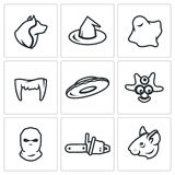 Vector Set of Fear Icons. Werewolf, Witch, Ghost, Vampire, UFO, Cannibal, Criminal, Maniac, Rat. Royalty Free Stock Photos