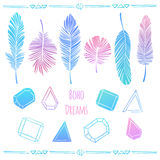 Vector set of feathers and crystals in boho style. Bright hand drawn illustration in bright pink, purple and blue colors Stock Photos