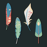Vector set of feathers. Elegant tender design for card, website, wrapping, background. Royalty Free Stock Photo