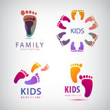 Vector set of feet steps, footprints logos Royalty Free Stock Photo