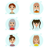 Vector set of female avatar icons. People illustration, flat woman social media. Cartoon characters for web profile. Lovely hipster pigtail ponytail nice Royalty Free Stock Photography