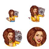 Vector set of female avatars in pop art style. Vector set of female round avatars for users of social networks, blogs, profile icons in pop art style. Sexy Stock Photo