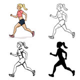 Vector Set of Female Character. Running Girl. Cartoon Color, Lineart, Sketch and Silhouette Illustrations. Vector Set of Female Character. Cartoon Color Royalty Free Stock Images