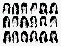 Vector set of female hair styles. With beautiful face Royalty Free Stock Photography