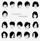 Vector set of female hair styles Stock Images