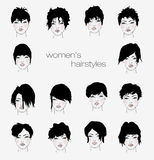 Vector set of female hair styles Stock Image