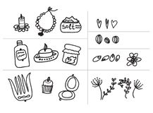 Set. Painted female tricks. Beads, comb, mirror, powder, candle, bath salt, capkake, cosmetics. Vector illustration. Vector set of female objects and plants Royalty Free Stock Photography