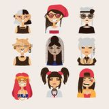 Vector set with female subcultural characters. Rasta, body modification, hipster, goth, visual kei girls. Royalty Free Stock Photography