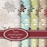 Vector set of fern seamless patterns stock illustration