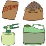 Vector set of fertilizer. Hand drawn cartoon, doodle illustration Stock Photos