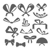 Vector set festive bows in different shapes. Silhouettes of bows of different shapes. Set festive bows in different shapes. Silhouettes of bows of different Stock Images