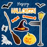 Vector set of festive stickers. Halloween theme. Traditional holiday symbol Jack o lantern, witch hat, broom, bat, web, spider, sw. Eets. Abstract doodle dark Stock Photography