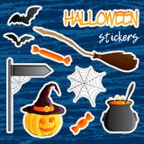 Vector set of festive stickers. Halloween theme. Traditional holiday symbol Jack o lantern, witch hat, broom, cauldron, bat, web. Abstract grunge blots Royalty Free Stock Photography