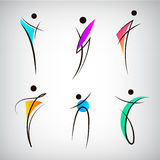 Vector set of figure line silhouette logos, human, men, sport and dancing signs. Stock Photo