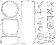 Vector set of figures, banners, arrows, symbols outline marker Stock Image