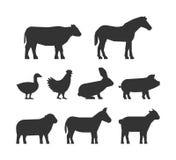 Vector set of figures of farm animals. Black silhouettes farm animals isolated on a white background. Shape farm animals. Cow, pig, rabbit, donkey, horse, goat Royalty Free Stock Photos