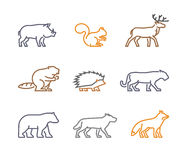 Vector set figures of wild animals. Isolated on white background. Line silhouettes boar, squirrels, deer, beaver, fox, puma, wolf, hedgehog and bear Stock Images