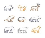 Vector set figures of wild animals Stock Images