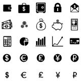 Vector set of 25 finance icons. Vector set of 25 black finance icons Stock Photo