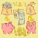 Vector set of finance items and metaphors in comic cartoon style: money bags, piggy bank, coins, dollar toilet paper.  Royalty Free Stock Images