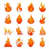 Vector set of fire and flame icons. Colorful Flames in the Flat Style.   Royalty Free Stock Photos