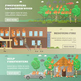 Vector set of fire horizontal banners in flat style. Vector set of fire horizontal banners. Firefighters extinguish wood, Rescuers fire and Help firefighters Royalty Free Stock Photo