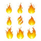 Flame icons set. Vector set of fire icons. Flame icons in a flat style Stock Images