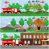 Vector set of fire posters, banners in flat style. Vector set of fire posters, banners. Firefighters extinguishing fire in the forest, in city two-storied house Stock Images