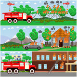 Vector set of fire posters, banners in flat style. Vector set of fire posters, banners. Forest fire, fire in city and cottage houses, in transport. Flat style Royalty Free Stock Photos
