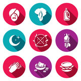 Vector Set of Fire Show Icons. Fakir, Flame, Fuel, Night, Trick, Torch, Applause, Donation, Food. Yogi, Fire, Canister, Crescent Rotation fire Hands Money Stock Images