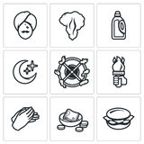 Vector Set of Fire Show Icons. Yogi, Fire, Canister, Crescent Rotation fire Hands Money Sandwich Stock Photography