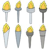 Vector set of fire torch. Hand drawn cartoon, doodle illustration Stock Images